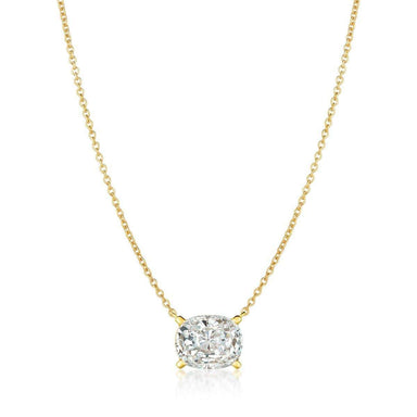 Crislu Jewelry CRISLU Radiant Cushion Cut Pendant Necklace Finished in 18KT Gold