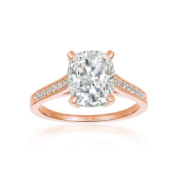 Crislu Jewelry CRISLU Radiant Cushion Cut Ring finished in 18KT Rose Gold - Size 6