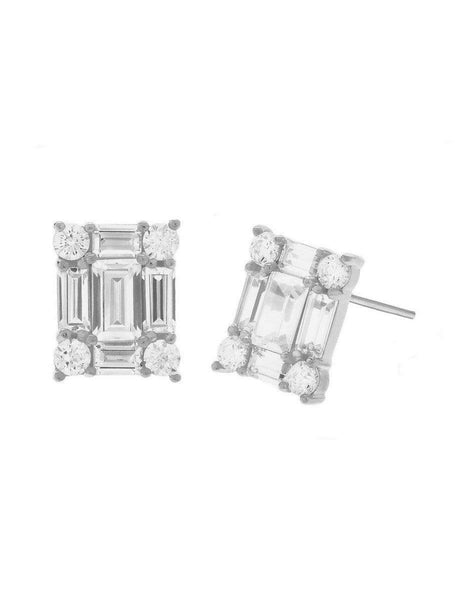 Crislu Jewelry CRISLU Rectangle 1.90 Carat Earring Finished in Pure Platinum