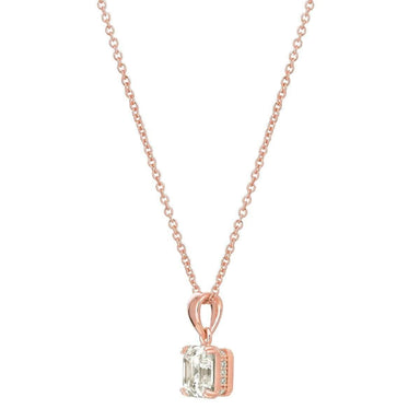 Crislu Jewelry CRISLU Royal Asscher Cut 4.10 Carat Pendant Necklace finished in 18KT Rose Gold
