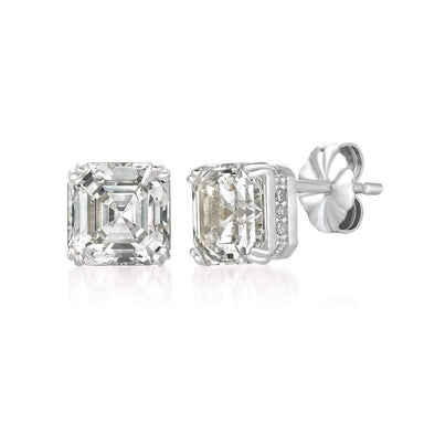 Crislu Jewelry CRISLU Royal Asscher Cut Earrings 4.10 Carat Finished in Pure Platinum