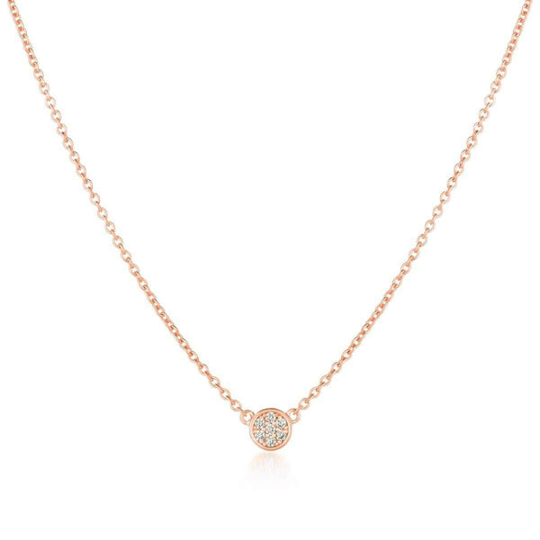 Crislu Jewelry CRISLU Single Sugar Drop Necklace finished in 18KT Rose Gold