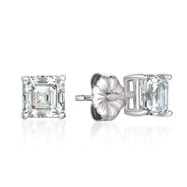 Crislu Jewelry CRISLU Solitaire Asscher Earrings 2.00 Carat Finsihed in Pure Platinum