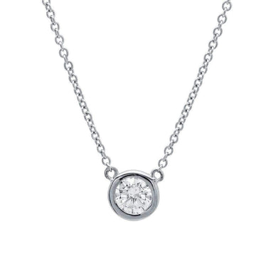 Crislu Jewelry CRISLU Solitaire Bezel Pendant Small Finished in Pure Platinum