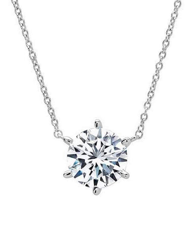 Crislu Jewelry CRISLU Solitaire Brilliant 2.00 Carat Necklace - 6 prong