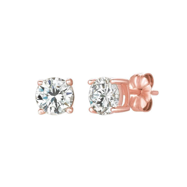 Crislu Jewelry CRISLU Solitaire Brilliant Earrings 1.50 Carat Finished in 18KT Rose Gold