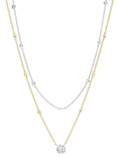 Crislu Jewelry CRISLU Solitaire Double Layered Necklace finished in 18KT Gold and Platinum