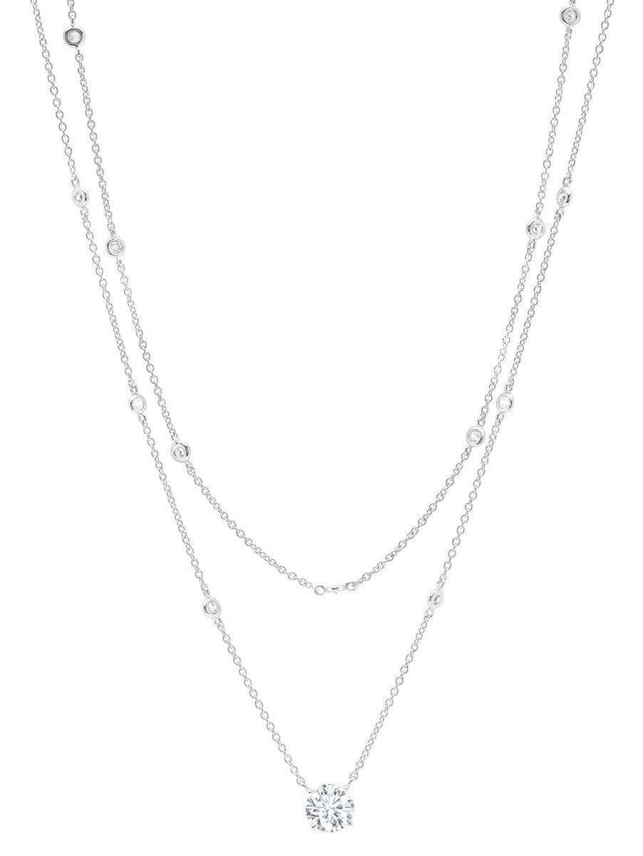 Crislu Jewelry CRISLU Solitaire Double Layered Necklace finished in Pure Platinum