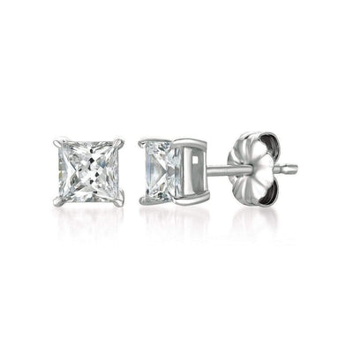 Crislu Jewelry CRISLU Solitaire Princess Earrings 1.50 Carat Finished in Pure Platinum