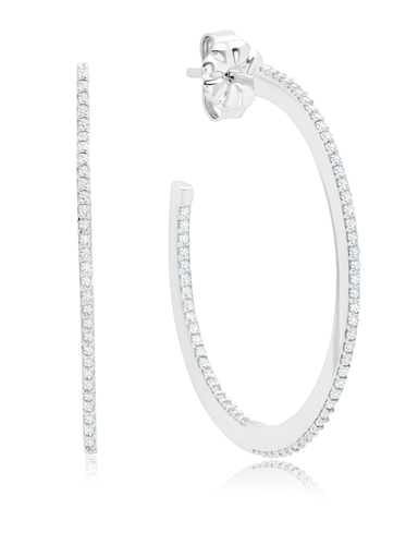 Crislu Jewelry Crislu Thin Diamond Edge Pave Hoop Earrings In Pure Platinum
