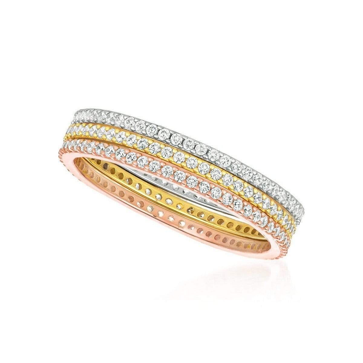 Crislu Jewelry CRISLU Tricolor Stunning Stacks Set 4mm - Size 8
