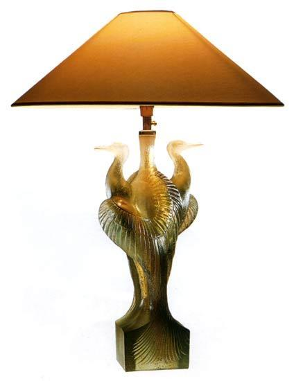 Daum Art Glass Daum Crystal Birds Heron Lamp