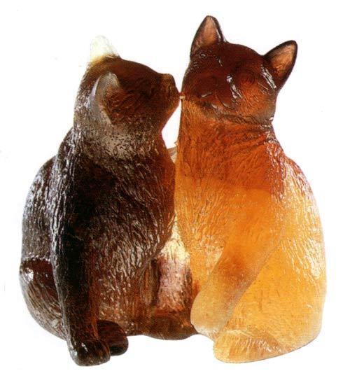 Daum Art Glass Daum Crystal Cat Small Kittens