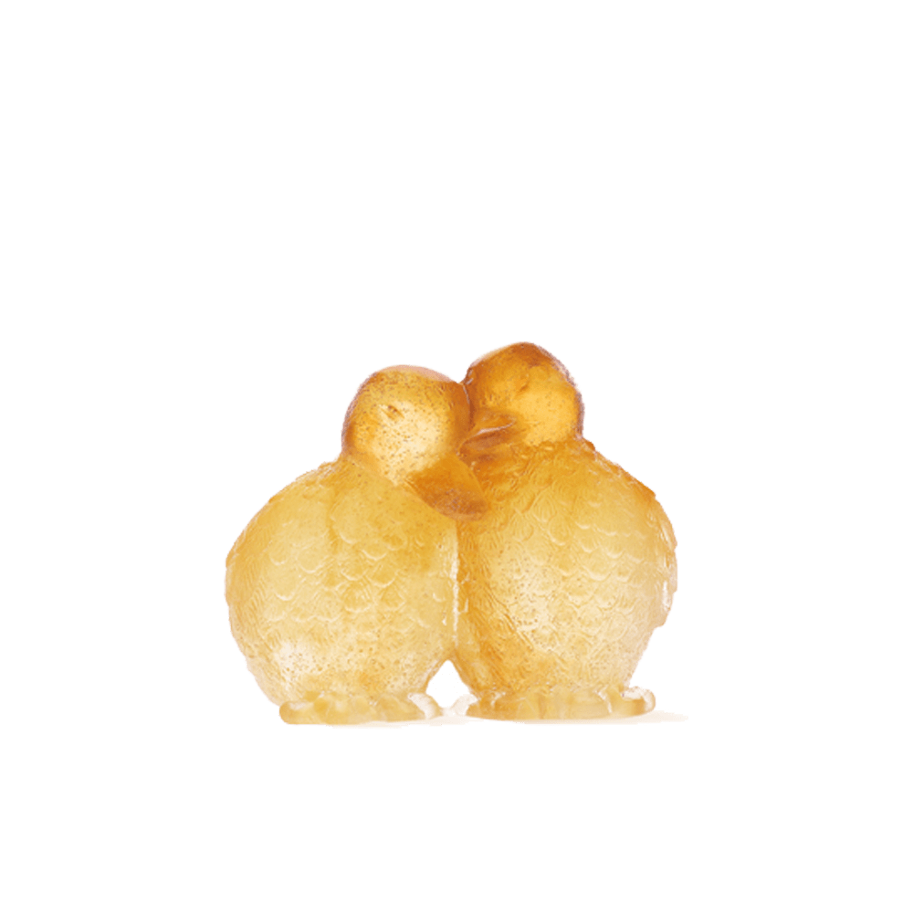Daum Art Glass Daum Crystal Ducklings - Amber