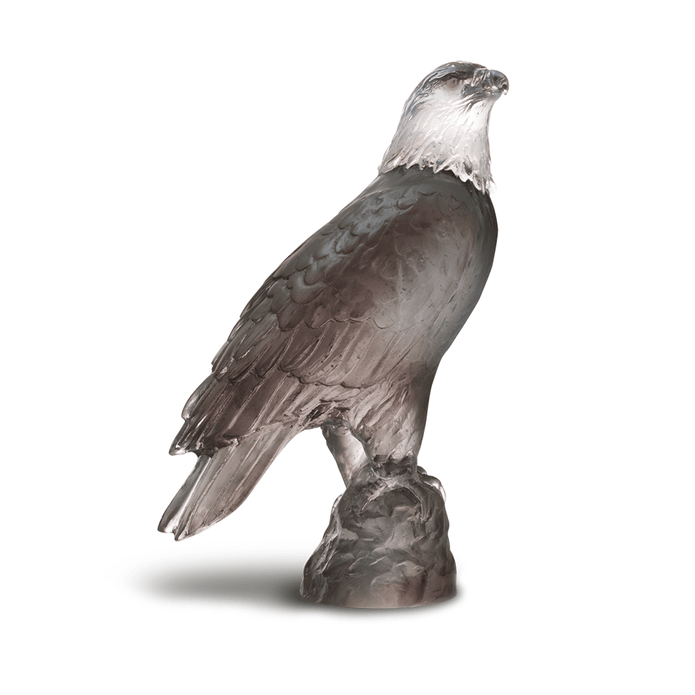 Daum Art Glass Daum Crystal Eagle, Small - Grey