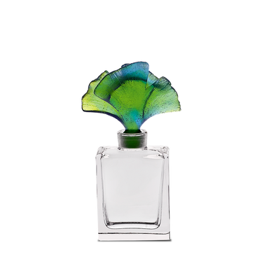 Daum Art Glass Daum Crystal Ginkgo Perfume Bottle in Blue & Green