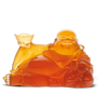 Daum Art Glass Daum Crystal Happy Buddha - Amber