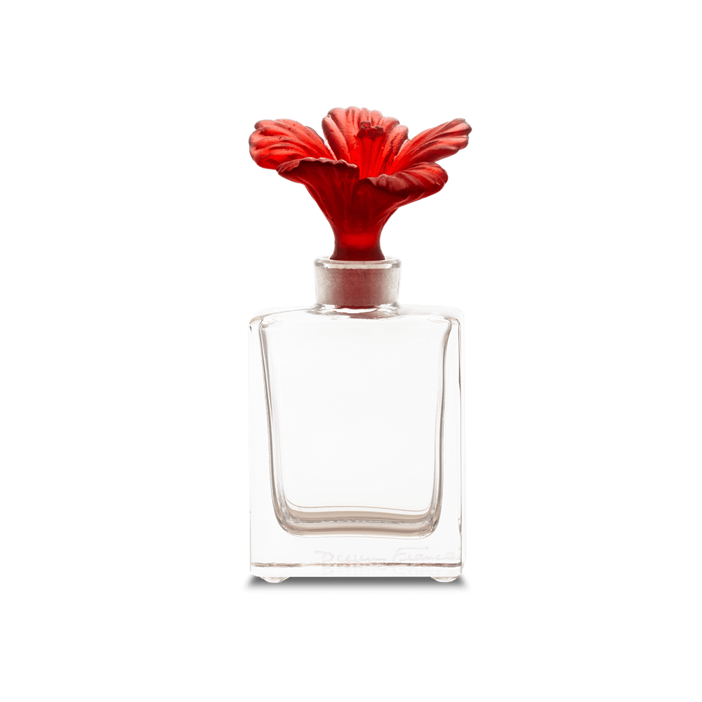 Daum Art Glass Daum Crystal Hibiscus Perfume Bottle - Red