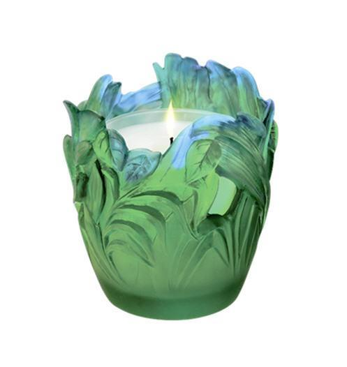 Daum Art Glass Daum Crystal Jungle Large Candle Holder
