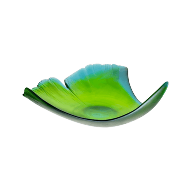 Daum Art Glass Daum Crystal Large Leaf Bowl Ginkgo