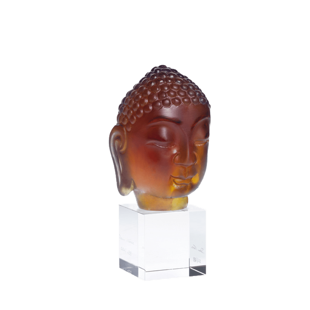Daum Art Glass Daum Crystal Ochre Little Buddha 488 ex