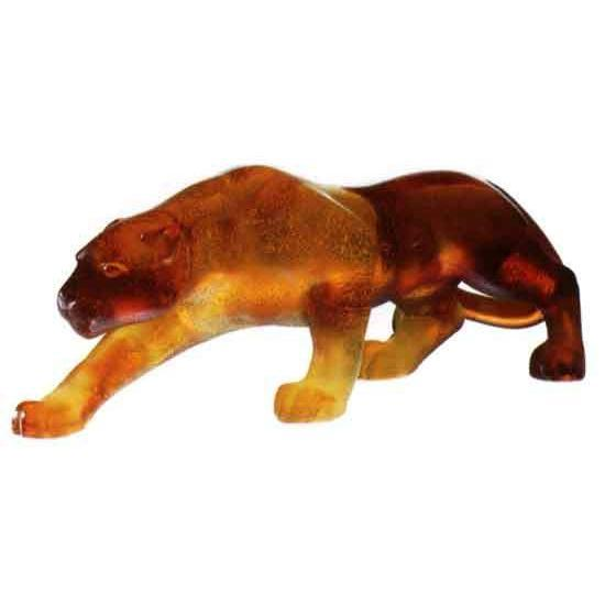 Daum Art Glass Daum Crystal Panther Small - Amber