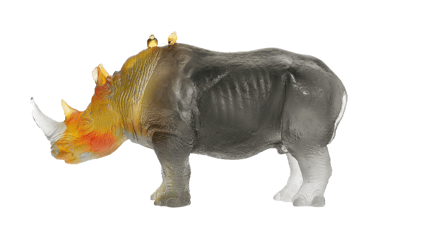 Daum Crystal Rhinoceros in Amber & Green by Jean-François Leroy 1000 ex