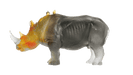 Daum Art Glass Daum Crystal Rhinoceros in Amber & Green by Jean-François Leroy 1000 ex