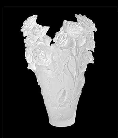 Daum Art Glass Daum Crystal Rose Passion Magnum Vase - White