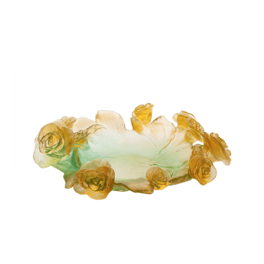 Daum Art Glass Daum Crystal Rose Passion Small Bowl - Green Orange