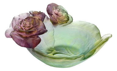 Daum Art Glass Daum Crystal Rose Passion Small Bowl - Green & Pink