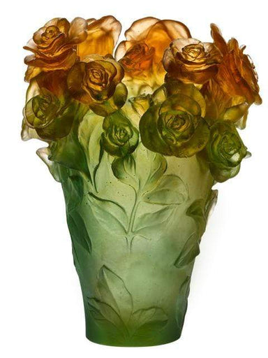 Daum Art Glass Daum Crystal Rose Passion Vase- Green Orange