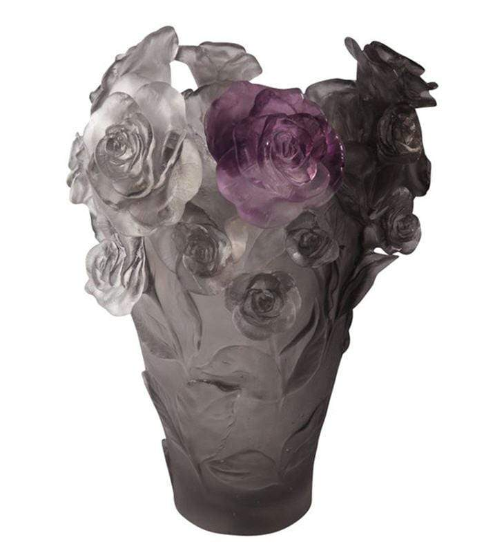 Daum Art Glass Daum Crystal Rose Passion Vase - Grey Purple