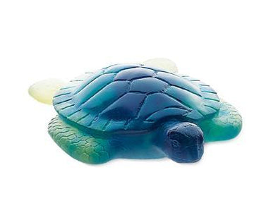 Daum Art Glass Daum Crystal Sea Turtle in Blue & Yellow