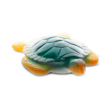 Daum Art Glass Daum Crystal Sea Turtle in Green & Amber