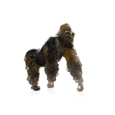 Daum Art Glass Daum Crystal Silverback Gorilla in Amber Grey by Jean-No