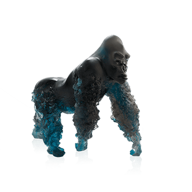 Daum Art Glass Daum Crystal Silverback Gorilla in Blue Grey by Jean-No