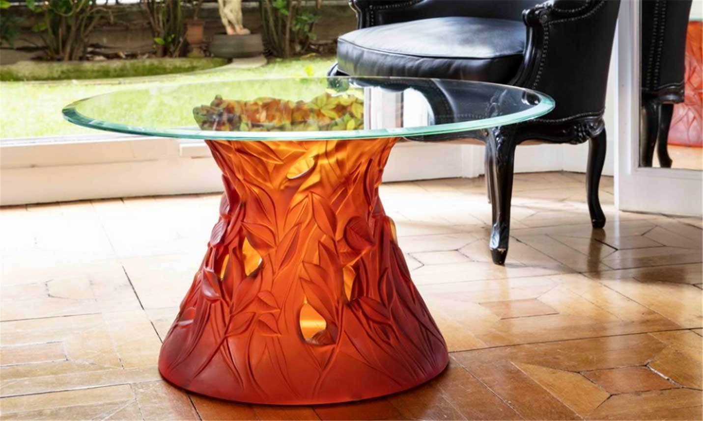 Daum Art Glass Daum Crystal Vegetal Coffee Table - Amber
