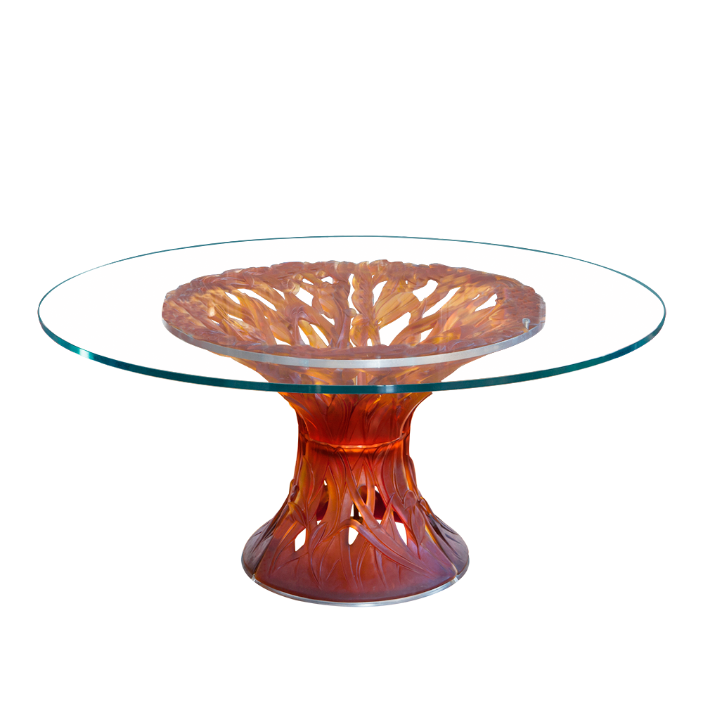 Daum Art Glass Daum Crystal Vegetal Table - Amber