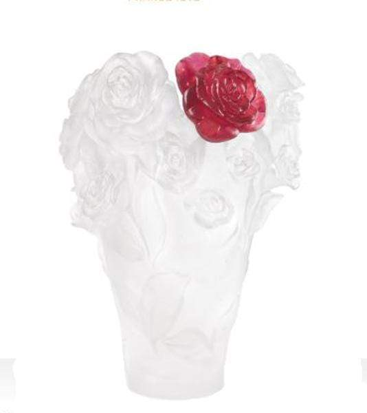 Daum Art Glass Daum Crystal White Rose Passion Vase Red Flower