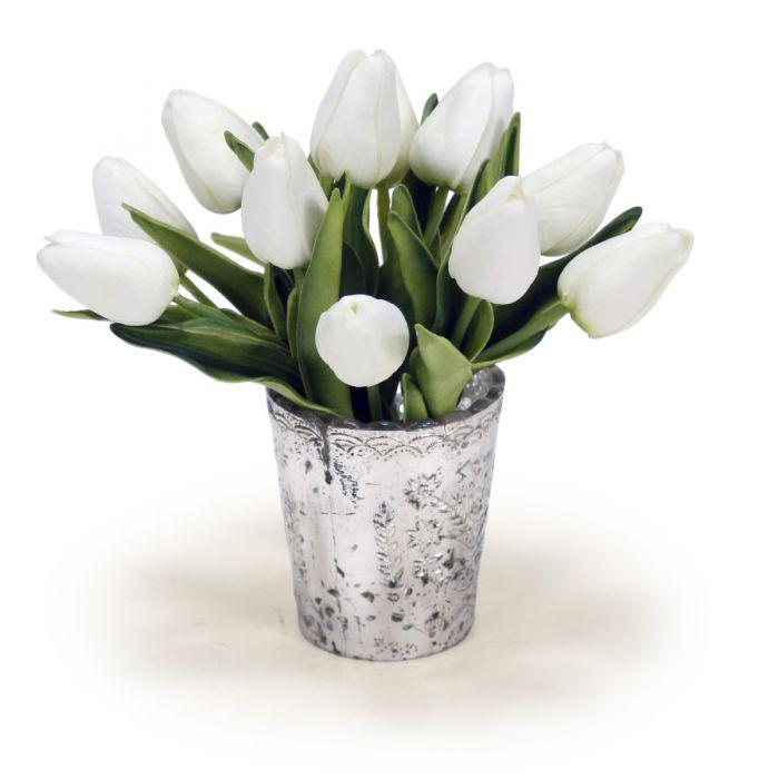 Mini White Tulips in Silver Votive (Set of 2)