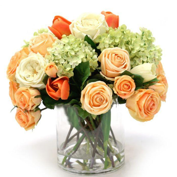 Distinctive Designs Home Peach and Cream Green Mix of Tulips, Roses, and Hydrangeas in Glass Cylinder
