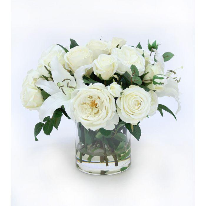 Roses and Casablanca Lilies in Glass Cylinder