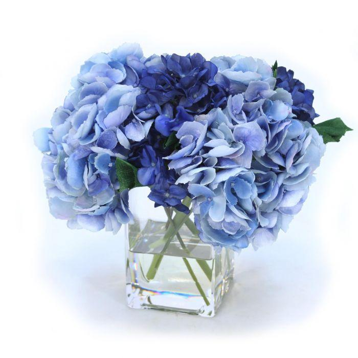Waterlook® Blue and Navy Hydrangeas in Square Vase