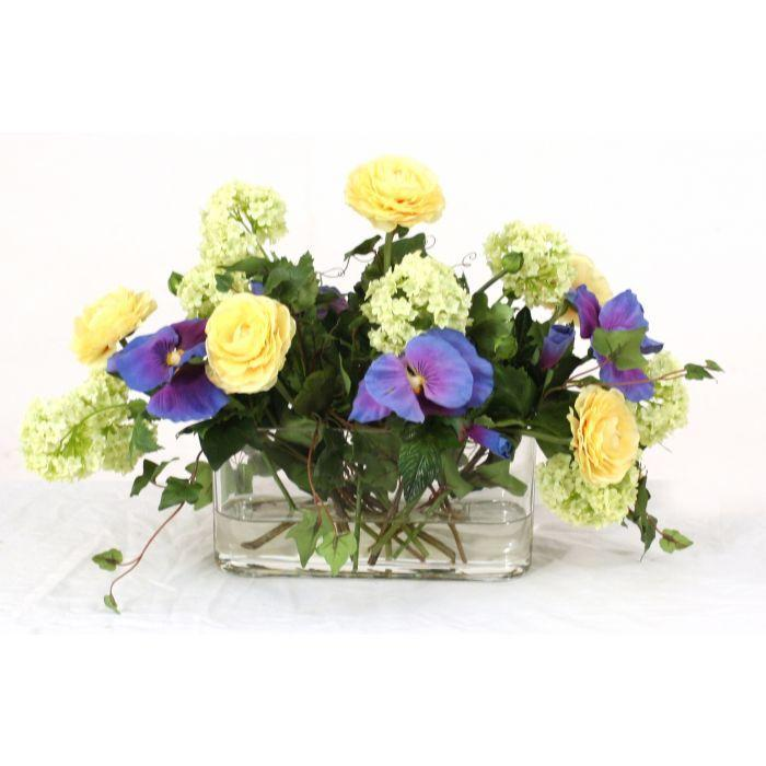 Waterlook® Blue, Green, and Yellow Spring Mix in Oval Glass Vase