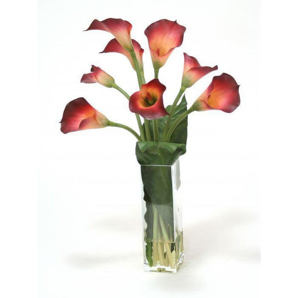 Distinctive Designs Home Waterlook® Burgundy Calla Lily with Tacca Leaf in Glass Vase