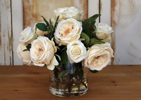 Distinctive Designs Home Waterlook® Cream Roses in Glass Cylinder Vase
