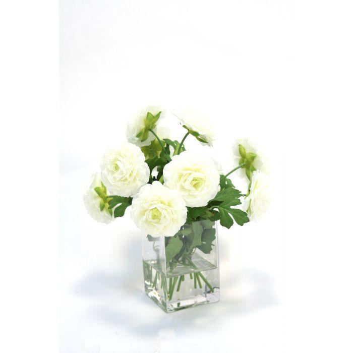 Waterlook® Cream White Ranunculus in Square Vase