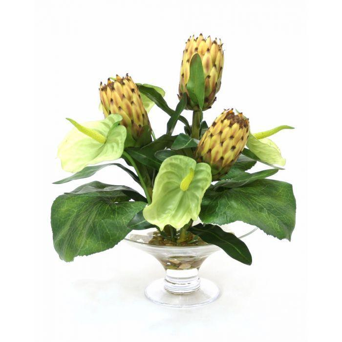 Waterlook® Green Anthuriums, Proteas and Leaves in Glass Compote