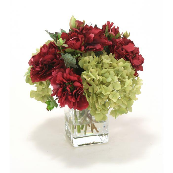 Waterlook® Green Hydrangea and Burgundy Peonies